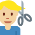 💇🏼♂️ Medium Light Skin Tone Man Getting Haircut Emoji on Twitter Platform