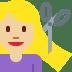 💇🏼♀️ woman getting haircut: medium-light skin tone Emoji on Twitter Platform