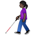 👩🏿🦯 Dark Skin Tone Woman With Probing Cane Emoji on Twitter Platform