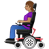 👩🏽‍🦼 woman in motorized wheelchair: medium skin tone Emoji on Twitter Platform