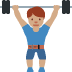 🏋🏽 person lifting weights: medium skin tone Emoji on Twitter Platform