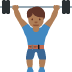🏋🏾 person lifting weights: medium-dark skin tone Emoji on Twitter Platform