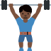 🏋🏿♂️ man lifting weights: dark skin tone Emoji on Twitter Platform