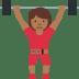 🏋🏾♀️ woman lifting weights: medium-dark skin tone Emoji on Twitter Platform