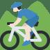 🚵🏻 person mountain biking: light skin tone Emoji on Twitter Platform