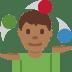 🤹🏾♂️ man juggling: medium-dark skin tone Emoji on Twitter Platform