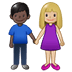 👩🏼‍🤝‍👨🏿 woman and man holding hands: medium-light skin tone, dark skin tone Emoji on Twitter Platform