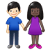 👩🏿‍🤝‍👨🏻 woman and man holding hands: dark skin tone, light skin tone Emoji on Twitter Platform