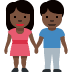👫🏿 woman and man holding hands: dark skin tone Emoji on Twitter Platform