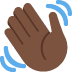 👋🏿 waving hand: dark skin tone Emoji on Twitter Platform