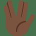 🖖🏿 vulcan salute: dark skin tone Emoji on Twitter Platform