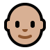 👨🏼‍🦲 man: medium-light skin tone, bald Emoji on Windows Platform
