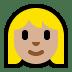 👱🏼♀️ woman: medium-light skin tone, blond hair Emoji on Windows Platform