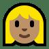 👱🏽♀️ woman: medium skin tone, blond hair Emoji on Windows Platform
