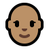 👩🏽‍🦲 woman: medium skin tone, bald Emoji on Windows Platform