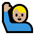 🙋🏼♂️ man raising hand: medium-light skin tone Emoji on Windows Platform