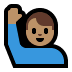 🙋🏽‍♂️ man raising hand: medium skin tone Emoji on Windows Platform