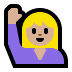 🙋🏼‍♀️ woman raising hand: medium-light skin tone Emoji on Windows Platform