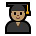 👨🏽‍🎓 Medium Skin Tone Male Student Emoji on Windows Platform