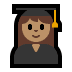 👩🏽🎓 woman student: medium skin tone Emoji on Windows Platform