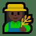 👩🏿🌾 woman farmer: dark skin tone Emoji on Windows Platform