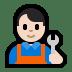 👨🏻🔧 man mechanic: light skin tone Emoji on Windows Platform