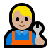 👨🏼‍🔧 man mechanic: medium-light skin tone Emoji on Windows Platform