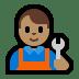 👨🏽🔧 man mechanic: medium skin tone Emoji on Windows Platform