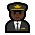 👨🏿‍✈️ man pilot: dark skin tone Emoji on Windows Platform
