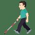 👨🏻🦯 man with probing cane: light skin tone Emoji on Windows Platform