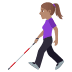 👩🏽🦯 woman with probing cane: medium skin tone Emoji on Windows Platform