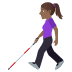👩🏾‍🦯 woman with probing cane: medium-dark skin tone Emoji on Windows Platform
