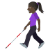 👩🏿🦯 woman with probing cane: dark skin tone Emoji on Windows Platform