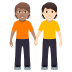 🧑🏽🤝🧑🏻 people holding hands: medium skin tone, light skin tone Emoji on Windows Platform