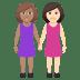 👩🏽🤝👩🏻 women holding hands: medium skin tone, light skin tone Emoji on Windows Platform