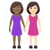 👩🏾‍🤝‍👩🏻 women holding hands: medium-dark skin tone, light skin tone Emoji on Windows Platform