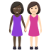 👩🏿🤝👩🏻 women holding hands: dark skin tone, light skin tone Emoji on Windows Platform