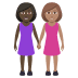 👩🏿‍🤝‍👩🏽 women holding hands: dark skin tone, medium skin tone Emoji on Windows Platform