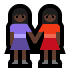 👭🏿 women holding hands: dark skin tone Emoji on Windows Platform
