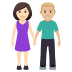 👩🏻‍🤝‍👨🏼 woman and man holding hands: light skin tone, medium-light skin tone Emoji on Windows Platform