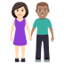 👩🏻‍🤝‍👨🏽 woman and man holding hands: light skin tone, medium skin tone Emoji on Windows Platform