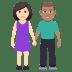 👩🏻🤝👨🏽 woman and man holding hands: light skin tone, medium skin tone Emoji on Windows Platform
