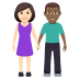 👩🏻‍🤝‍👨🏾 woman and man holding hands: light skin tone, medium-dark skin tone Emoji on Windows Platform