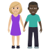 👩🏼‍🤝‍👨🏿 woman and man holding hands: medium-light skin tone, dark skin tone Emoji on Windows Platform