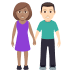 👩🏽‍🤝‍👨🏻 woman and man holding hands: medium skin tone, light skin tone Emoji on Windows Platform