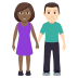 👩🏾🤝👨🏻 woman and man holding hands: medium-dark skin tone, light skin tone Emoji on Windows Platform