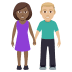 👩🏾‍🤝‍👨🏼 woman and man holding hands: medium-dark skin tone, medium-light skin tone Emoji on Windows Platform