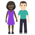 👩🏿‍🤝‍👨🏻 woman and man holding hands: dark skin tone, light skin tone Emoji on Windows Platform