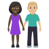 👩🏿‍🤝‍👨🏼 woman and man holding hands: dark skin tone, medium-light skin tone Emoji on Windows Platform