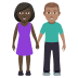 👩🏿‍🤝‍👨🏽 woman and man holding hands: dark skin tone, medium skin tone Emoji on Windows Platform